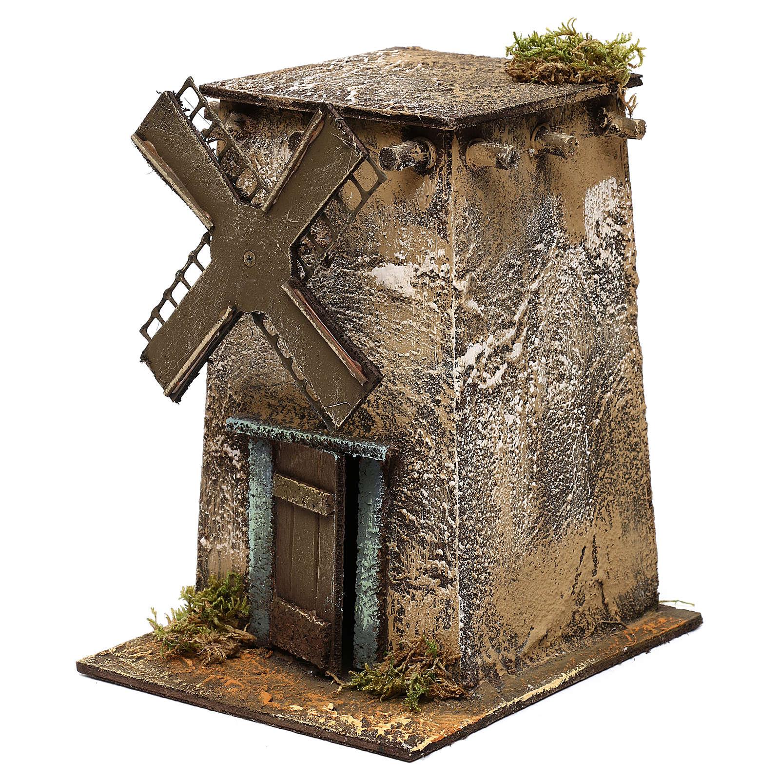 Mulino a vento in legno quadrato 20x15x20 cm presepe napoletano 4