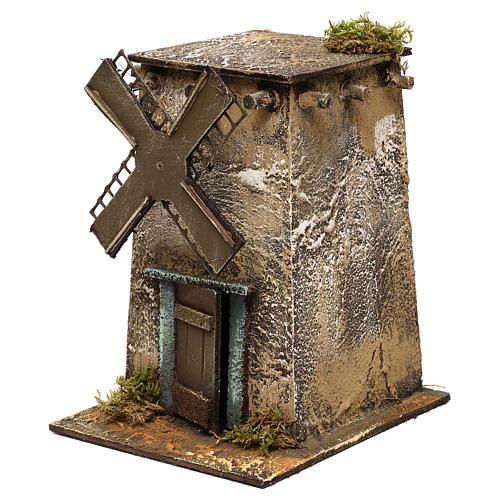 Mulino a vento in legno quadrato 20x15x20 cm presepe napoletano 2