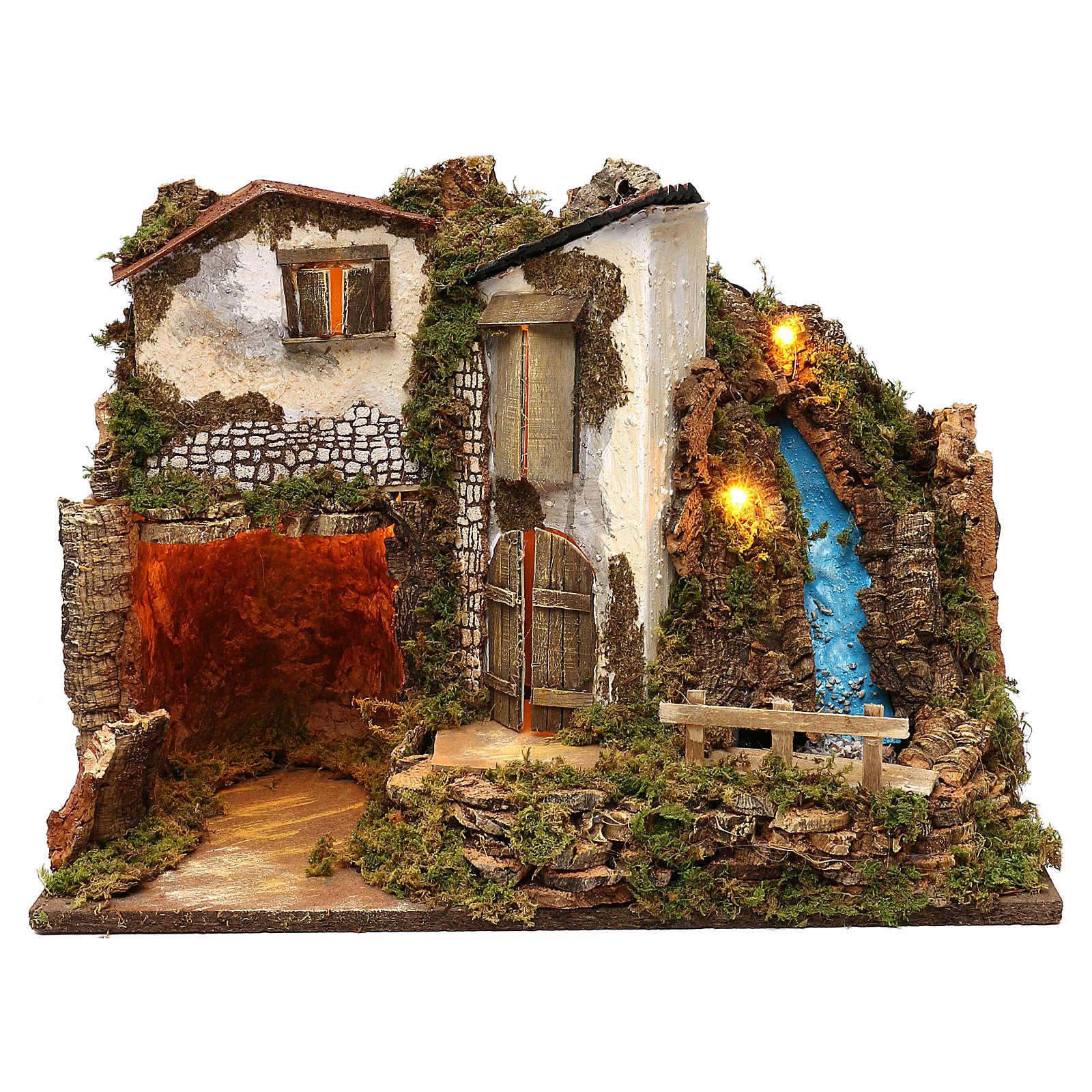 Casa rústica con luces y cascada 35x50x25 cm para belenes 11 cm 4