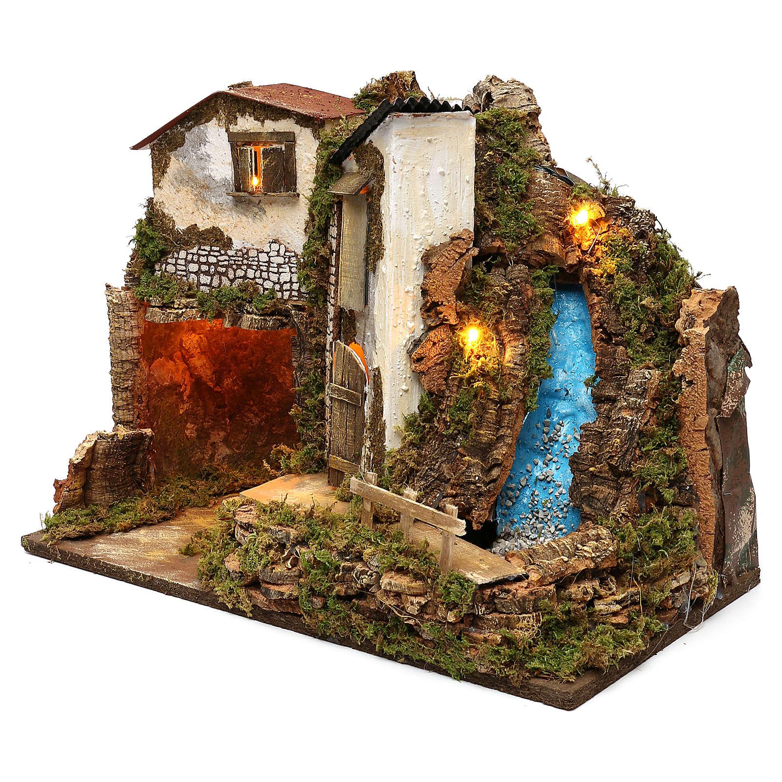 Casa rustica con luci e cascata 35x50x25 cm per presepi 11 cm 4