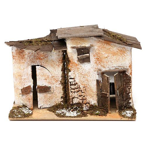 Miniature rustic house with 2 entrances 15x20x15 cm, for 7 cm nativity 1