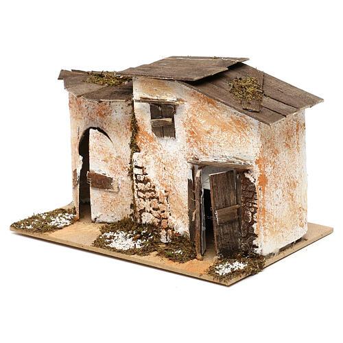 Miniature rustic house with 2 entrances 15x20x15 cm, for 7 cm nativity 2