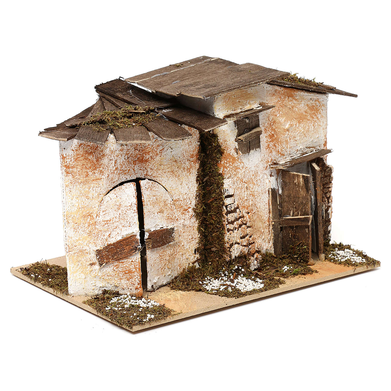 Casetta in stile rustico con 2 ingressi 15x20x15 per presepi di 7 cm 4