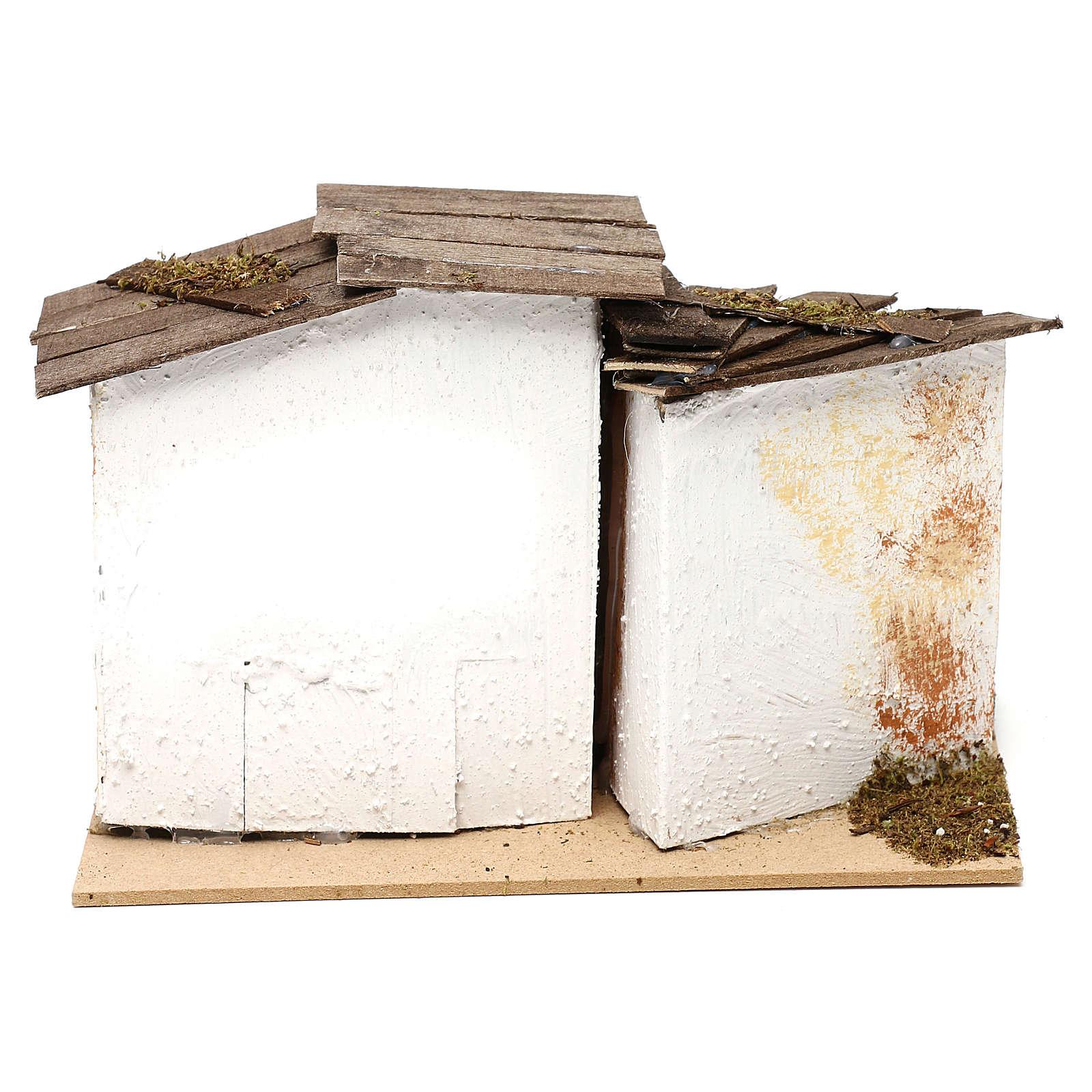 Miniature rustic house with 2 entrances 15x20x15 cm, for 7 cm nativity 4