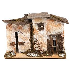 Miniature rustic house with 2 entrances 15x20x15 cm, for 7 cm nativity s1