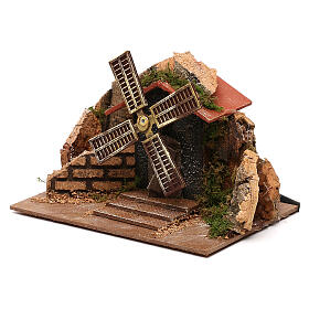 Moving windmill statue 10x15x10 cm, for 7 cm nativity s2