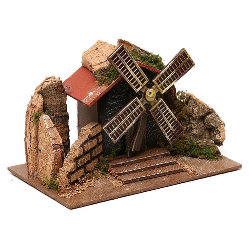 Moving windmill statue 10x15x10 cm, for 7 cm nativity 3