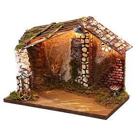 Nativity stable with moss functioning lantern 20x35x20 cm, for 13 cm nativity s2