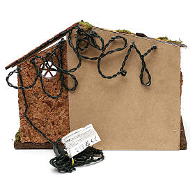 Nativity stable with moss functioning lantern 20x35x20 cm, for 13 cm nativity s4