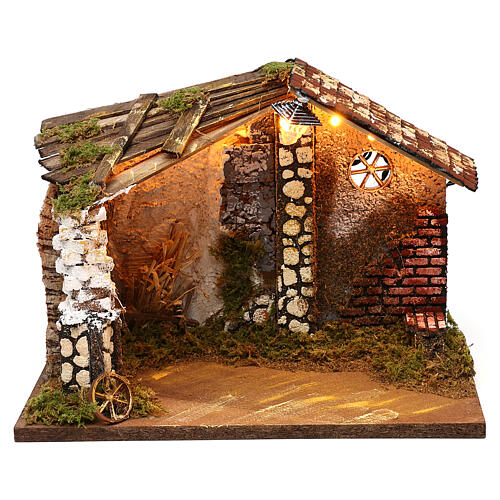 Nativity stable with moss functioning lantern 20x35x20 cm, for 13 cm nativity 1