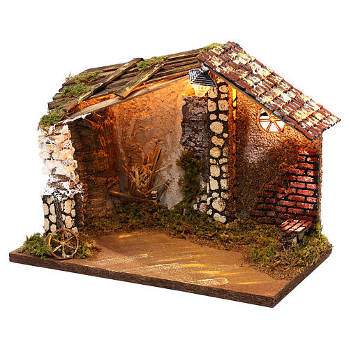 Nativity stable with moss functioning lantern 20x35x20 cm, for 13 cm nativity 2