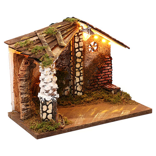 Nativity stable with moss functioning lantern 20x35x20 cm, for 13 cm nativity 3