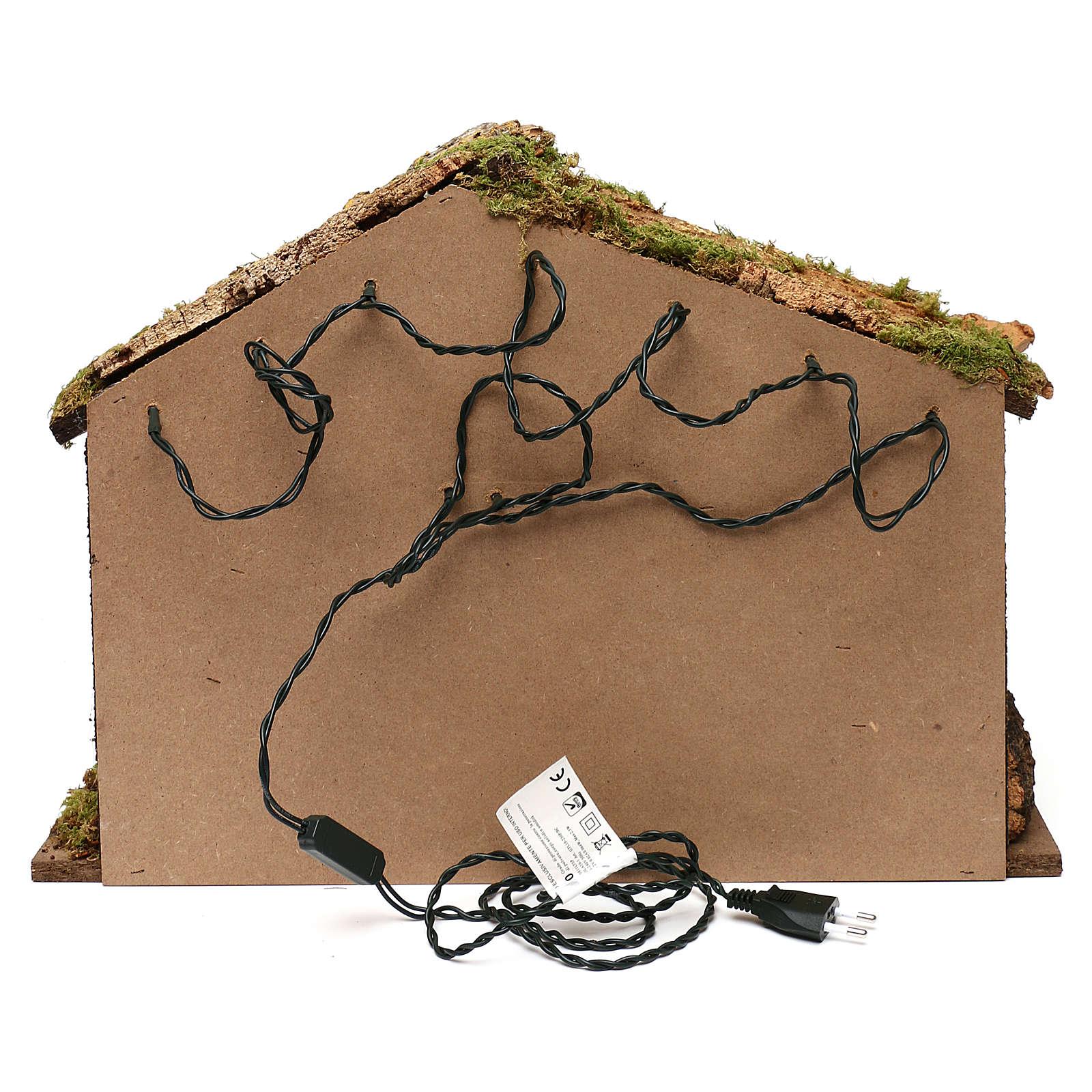 Capanna rustica tetto sughero con luci led 40x50x25 cm per presepi 16 cm 4