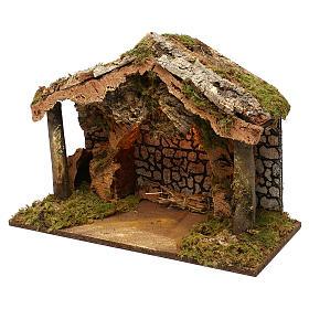 Capanna rustica tetto sughero con luci led 40x50x25 cm per presepi 16 cm s3