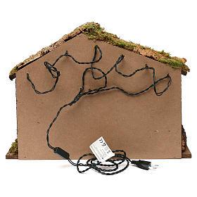 Capanna rustica tetto sughero con luci led 40x50x25 cm per presepi 16 cm s4