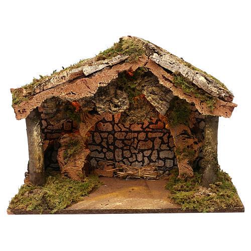 Capanna rustica tetto sughero con luci led 40x50x25 cm per presepi 16 cm 1