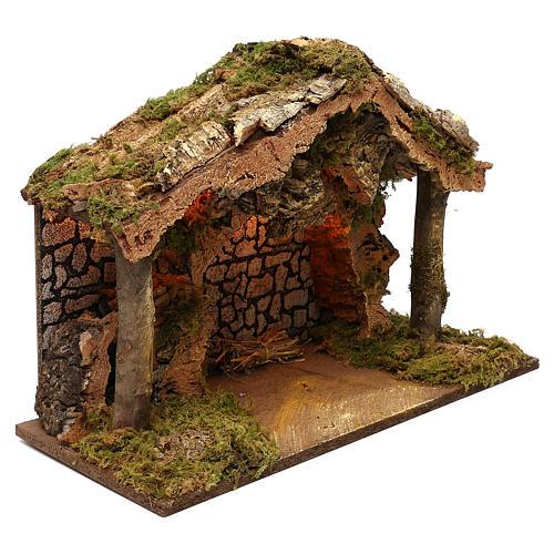 Capanna rustica tetto sughero con luci led 40x50x25 cm per presepi 16 cm 2
