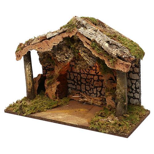 Capanna rustica tetto sughero con luci led 40x50x25 cm per presepi 16 cm 3