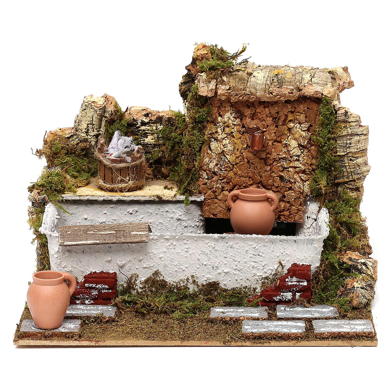 Fontaine lavoir avec cruches et pompe 20x25x20 cm pour crèche de 13 cm 4