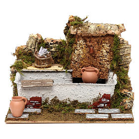 Fontaine lavoir avec cruches et pompe 20x25x20 cm pour crèche de 13 cm s1