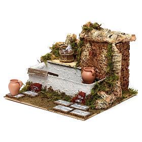 Fontaine lavoir avec cruches et pompe 20x25x20 cm pour crèche de 13 cm s2