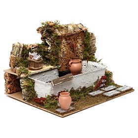 Fontaine lavoir avec cruches et pompe 20x25x20 cm pour crèche de 13 cm s3