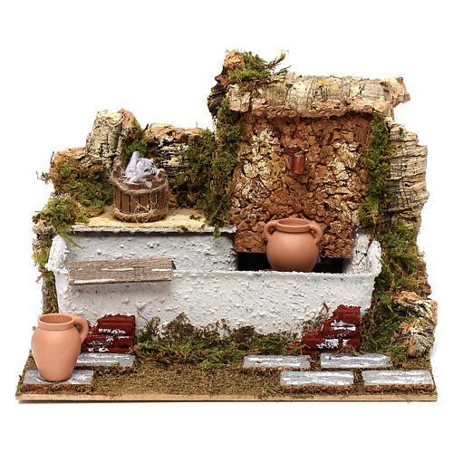 Fontaine lavoir avec cruches et pompe 20x25x20 cm pour crèche de 13 cm 1