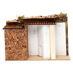 Maisonnettes attenantes 3 entrées et étable 25x35x20 cm pour crèche de 6-7 cm s4