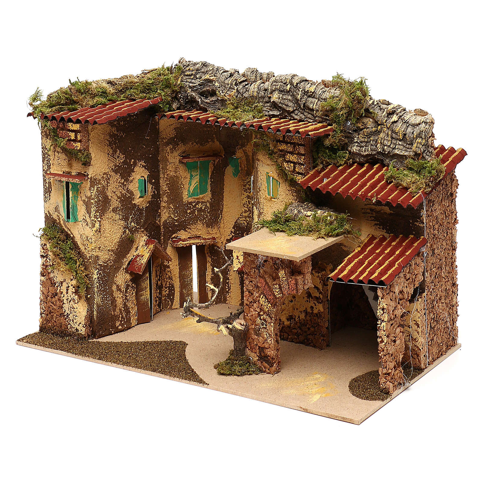 Terraced houses with 3 entrances and stable 25x35x20 cm for nativity scenes of 6-7 cm 4