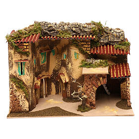 Terraced houses with 3 entrances and stable 25x35x20 cm for nativity scenes of 6-7 cm s1