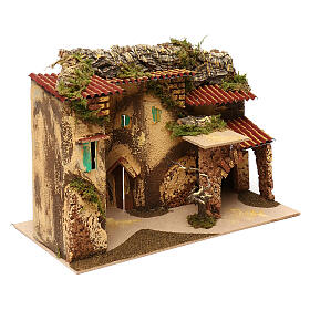 Terraced houses with 3 entrances and stable 25x35x20 cm for nativity scenes of 6-7 cm s2