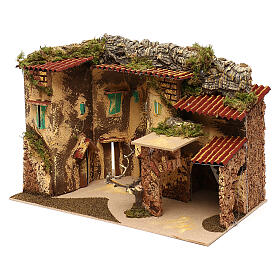 Terraced houses with 3 entrances and stable 25x35x20 cm for nativity scenes of 6-7 cm s3