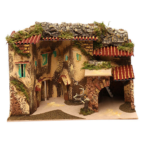 Terraced houses with 3 entrances and stable 25x35x20 cm for nativity scenes of 6-7 cm 1