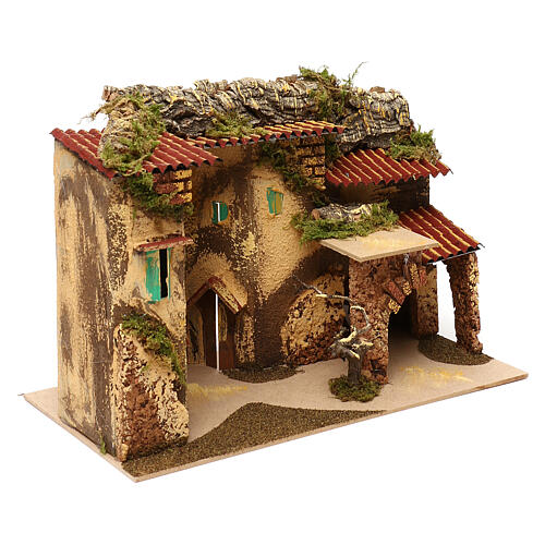 Terraced houses with 3 entrances and stable 25x35x20 cm for nativity scenes of 6-7 cm 2