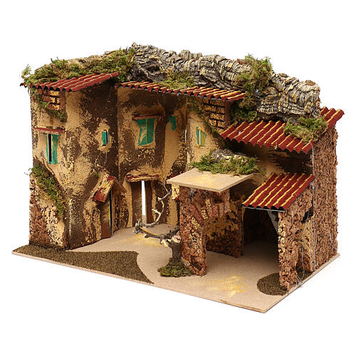Terraced houses with 3 entrances and stable 25x35x20 cm for nativity scenes of 6-7 cm 3