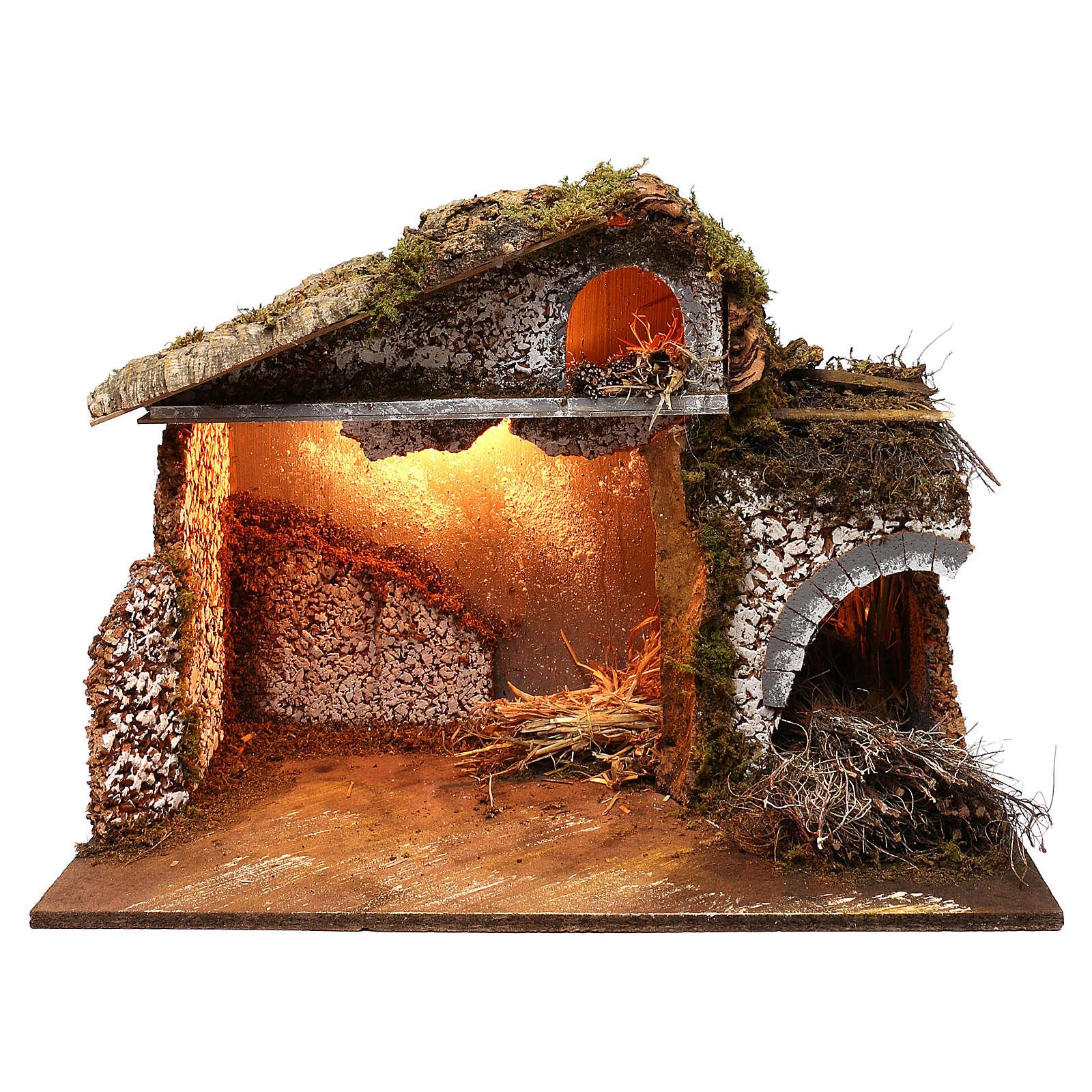 Stalla fienile luci tetto con muschio 35x60x40 cm per presepe 16-17 cm 4