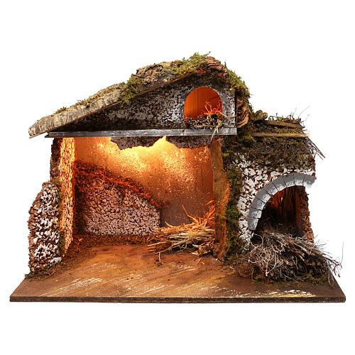 Stalla fienile luci tetto con muschio 35x60x40 cm per presepe 16-17 cm 1
