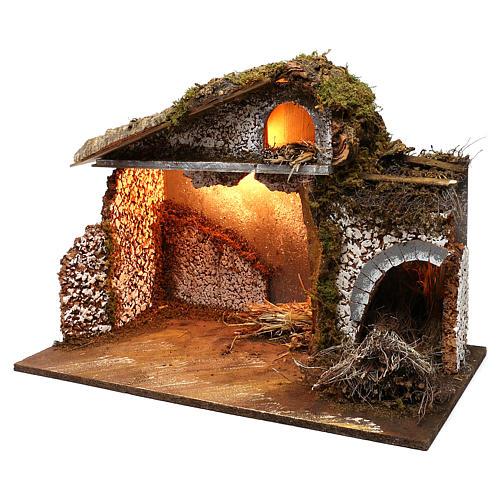 Stalla fienile luci tetto con muschio 35x60x40 cm per presepe 16-17 cm 2
