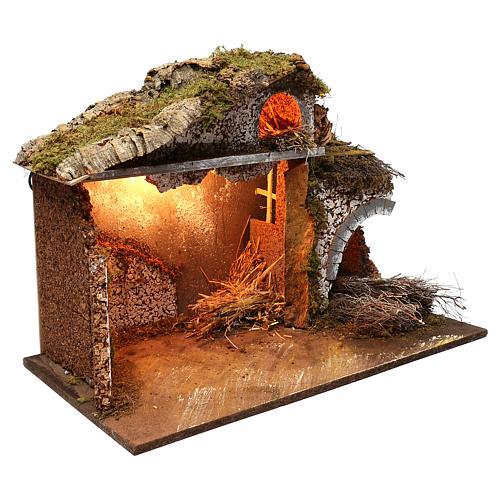 Stalla fienile luci tetto con muschio 35x60x40 cm per presepe 16-17 cm 3