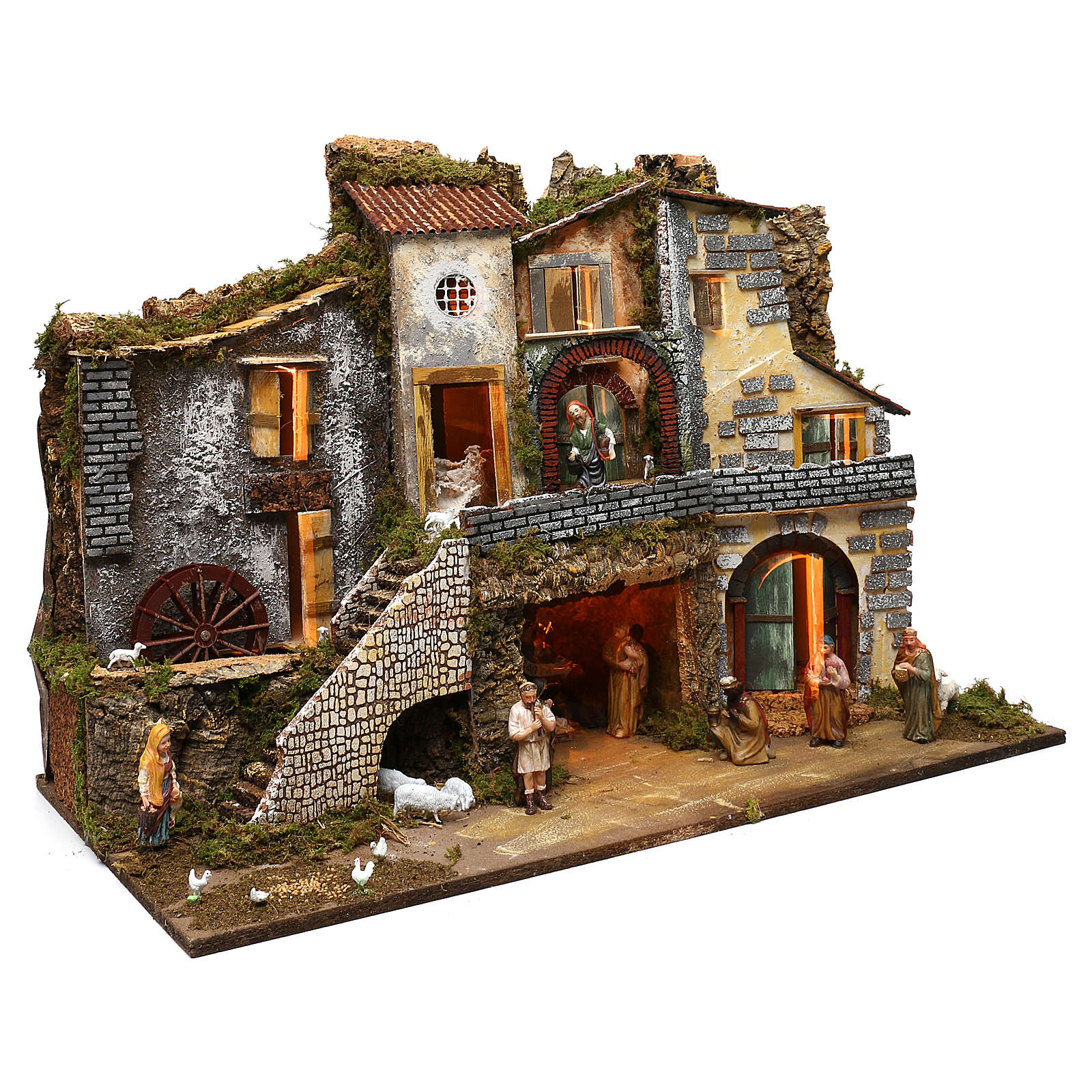 Ambientazione vicoletto capanna e personaggi 60x80x45 cm presepe 10 cm 4