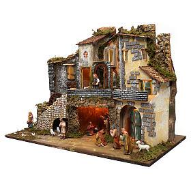 Ambientazione vicoletto capanna e personaggi 60x80x45 cm presepe 10 cm s2