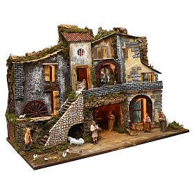 Ambientazione vicoletto capanna e personaggi 60x80x45 cm presepe 10 cm s3