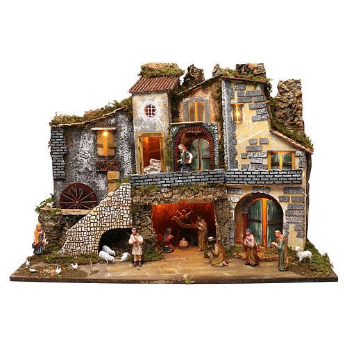 Ambientazione vicoletto capanna e personaggi 60x80x45 cm presepe 10 cm 1
