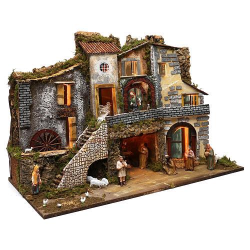 Ambientazione vicoletto capanna e personaggi 60x80x45 cm presepe 10 cm 3