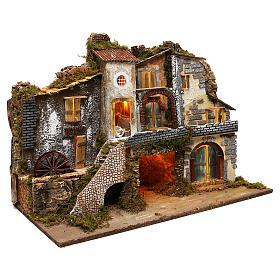 Ruelle avec moulin électrique et cabane 60x80x45 cm crèche 10 cm s3
