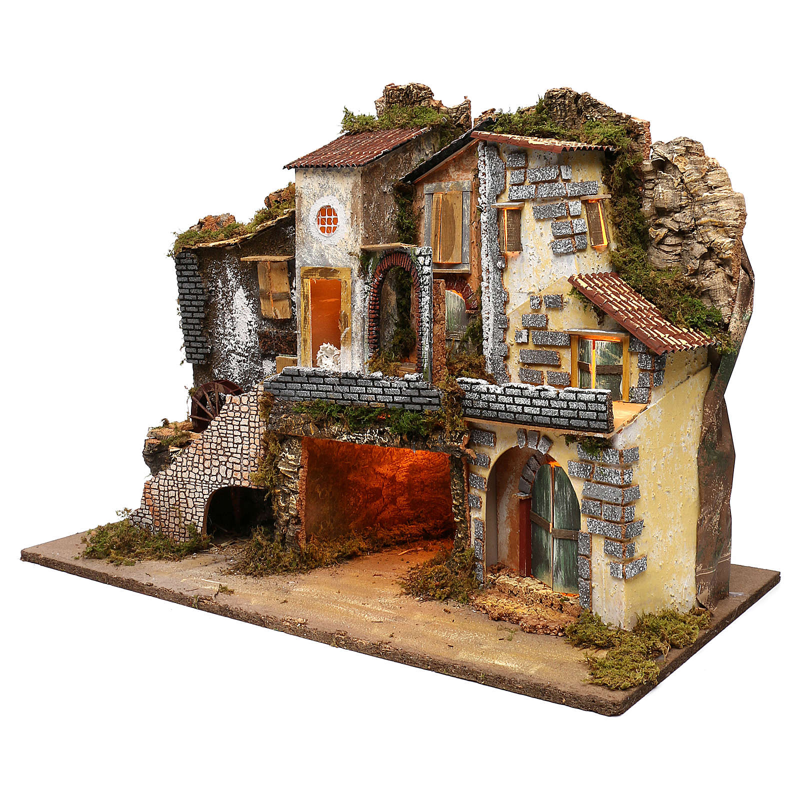 Vicoletto con mulino funzionante e capanna 60x80x45 cm presepe 10 cm 4