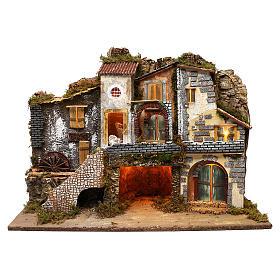 Vicoletto con mulino funzionante e capanna 60x80x45 cm presepe 10 cm s1