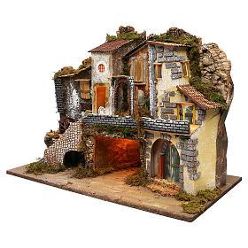 Vicoletto con mulino funzionante e capanna 60x80x45 cm presepe 10 cm s2