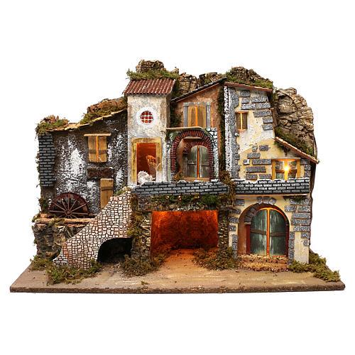 Vicoletto con mulino funzionante e capanna 60x80x45 cm presepe 10 cm 1