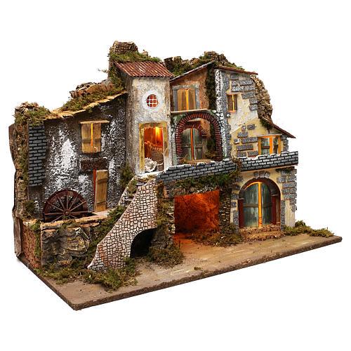 Vicoletto con mulino funzionante e capanna 60x80x45 cm presepe 10 cm 3
